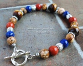 Mens Bracelet, Brown Tiger Eye, Blue Lapis, Red Jasper, Gemstone Beaded Mens Jewelry, Made in USA, Patriotic