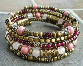 Gemstone Wrap Around Beaded Memory Wire Bracelet, Bangle, Garnet, Rose Quartz, Rhodonite, Red Pink, Brass, Boho Gypsy