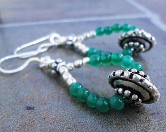 Green Onyx Earrings, Sterling Silver Earwires, Beaded Emerald Green Gemstone Dangle Hoop Earrings, Handcrafted Jewelry