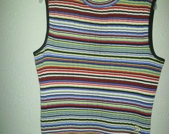 ST. JOHN Sport Medium Ribbed Knit Multi Color Sleeveless Top