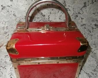 Vintage 1950s Delill Italy Makeup Trunk Handbag Purse RED  & BRASS