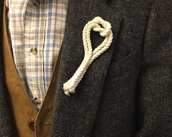 Nautical Boutonniere - Nautical Wedding Boutonniere - Rope Lapel Pins