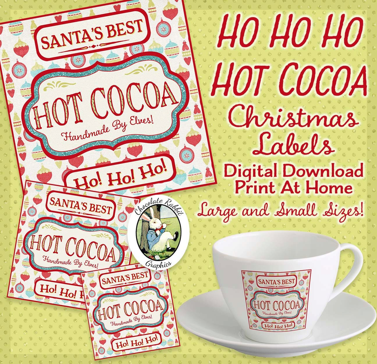 Hot Cocoa Labels Christmas Digital Download Printable