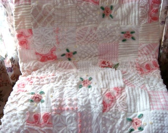 "CUSTOM ORDER QUILT Sample - ""French Country Rose"" Vintage Cotton Chenille Patchwork  Quilt"