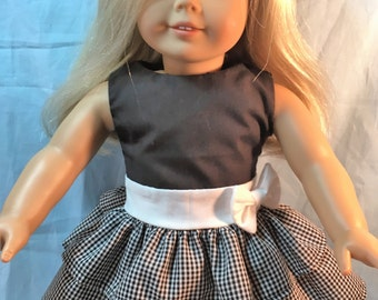 Doll Clothes 18 inch, Black and White Plaid Party Dress,  Doll Clothes made to fit American Girl