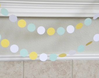 Mint Green, Yellow White Paper Garland, Mint Green Wedding Garland, Mint Yellow Nursery Decor, Mint Yellow Neutral Baby Shower