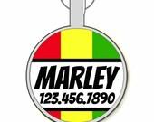 Rasta Stripes Personalized Dog ID Pet Tag Custom Pet Tag You Choose Tag Size & Colors