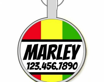 Rasta Stripes Personalized Dog ID Pet Tag Custom Pet Tag You Choose Tag Size & Colors