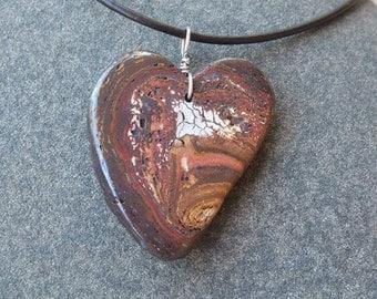 Boulder opal pendant necklace -  large earthy love heart necklace handmade in Australia