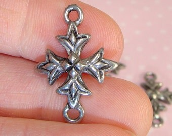 6 Gothic Cross Charms Pewter Silver USA Made 2 Loops for Necklaces Earrings Friendship Bracelets Confirmation Bible Bulk Jewelry Supplies