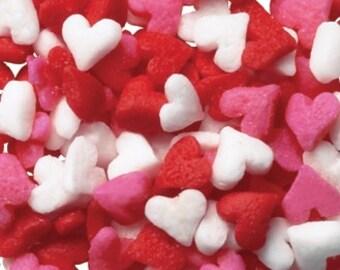 Mini Heart Sprinkles, Red, White & Pink