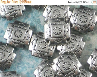SALE 12 Four Corners Shield Stamped Hill Tribe Style Silver Square Beads - Southwest Style (P335)