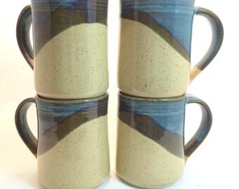 Set of 4  Ceramic Handmade Mugs , Sahara/ Twilight Blue combination.