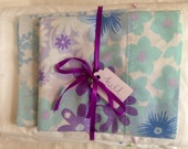 Vintage Remixed Full sheet set in cool blues and purples / full flat sheet / full fitted sheet / vintage pillowcases