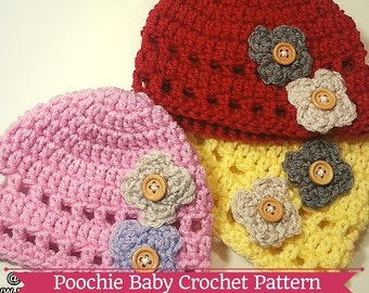 PATTERN - Flower Beanie Hat for Babies - Crochet Pattern