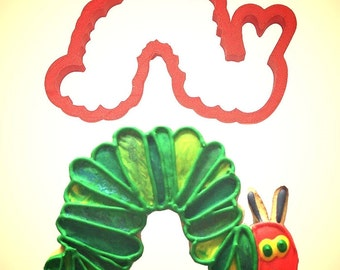 """Hungry Caterpillar Cookie Cutter,  5"""", cake topper cookie, inch worm cookie cutter"""