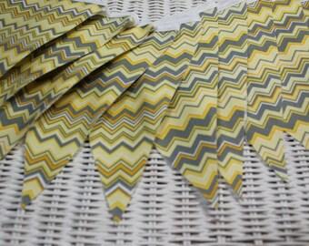 Free USA Shipping/Gray and Yellow Chevron Fabric Banner/Chevron Fabric Banner/Fabric Garland/Yellow and Gray/Birthday Banner/Wedding Banner/