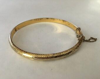 Vintage Gilt Sterling Silver Bangle Bracelet