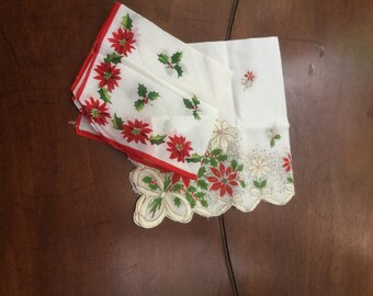 Two Vintage Christmas Hankies Handkerchiefs Poinsettias Holly