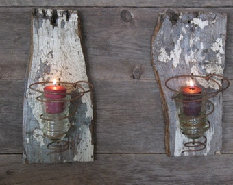 Two Rustic Farmhouse Wall Sconces - Vintage Bed Spring - Candle Holder - Vintage Glass Insulator