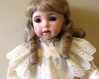 "Doll 18"" Jenny full porcelain doll made from molds by Dianna Effner and dressed in an ecru dress"
