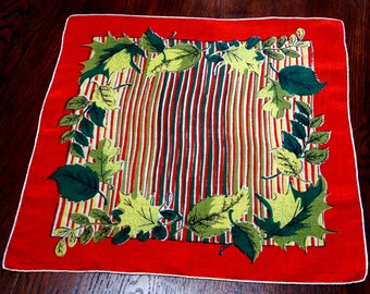 Vintage Handkerchief Hanky Flowers Leaves Red Orange Green Stripe