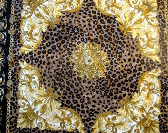 Vintage Scarf Shawl Oversized Leopard Print Gold Scrolls Black Brown Gold Flowing Leaves