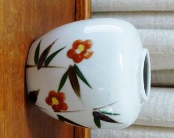 Vintage Oriental Vase Orange Flowers Brown Green Leaves Stems Hand Painted Oriental Collection Japan 1970s