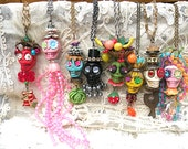 day dead assemblage necklace sugar skull goth Dia de los muertos carmen miranda fruit wacky tacky colorful recycle jewelry