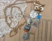 collage night owl necklace assemblage watch gear moon stars salvage repurpose tin recycled jewelry