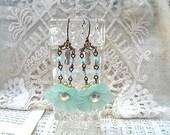 morning glory earrings assemblage mint green dangle spring