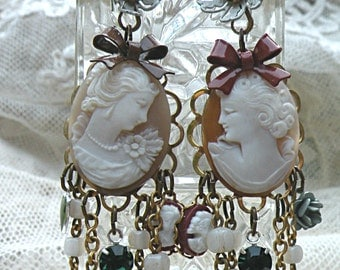 rosary cameo earrings assemblage fall vintage recycle