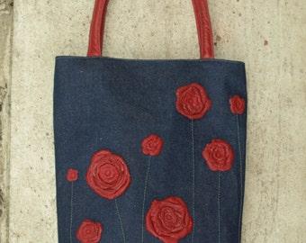 Denim Handbag Purse Bag Tote with Studded Brown Leather Floral Applique summer, cherry blossom, japanese floral design