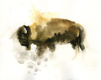 AMERICAN BISON Original painting 8x10inch