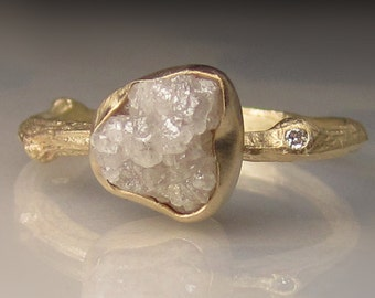 Raw Diamond Engagement Ring, 14k Yellow Gold Diamond Twig Ring, Raw Wedding Set, Twig Engagement Ring, 2.05CTS