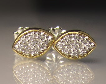 Pave Diamond Earrings, Pave Diamond Studs, Sterling Silver and 22k Gold