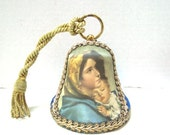 Vintage Reuge Music Box, Collectors Musical Christmas Bell Michelangelo Blessed Virgin Made in Switzerland Adeste Fideles Madonna w/ Child
