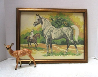 Vintage Paint by Number Painting, Beautiful Arabian Horses, Professionally Framed behind glass, Large Oil Painting, Collectible, Everyman
