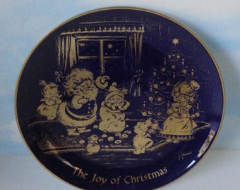 The Joy Of Christmas. 1976 Cobalt Blue 24K Gold LINDNER Decorative Plate. Western Germany
