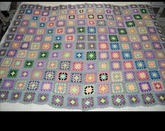 Lovely Granny Square Crocheted Afghan/Blanket