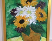 Framed Oil Painting - 14x11 // flowers // Sunflowers // Floral Still Life // Whimsical Home Decor