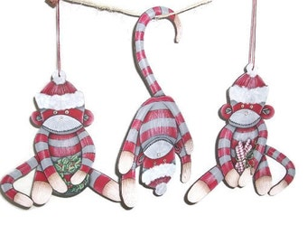 Hand Painted Sock Monkey Christmas Ornaments