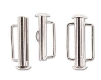 free uk postage Silver Plated Slide Bar Clasp 21.5mm Pack of 4