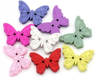 free shipping in UK - pack of 10 -  Sewing Scrapbooking Wooden Buttons Butterfly  Mixed Colours Two Holes