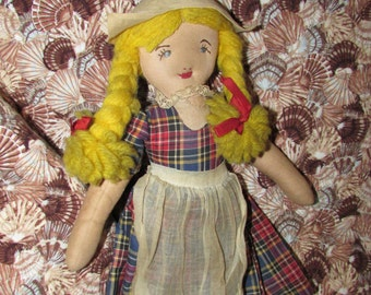 Antique FOLK ART Rag Doll Handmade Dutch Girl Cloth Rag Doll