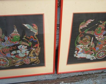 Vintage CHINESE PAINTING On Silk Beautiful Pair 1960's Artist Signed Asian Art