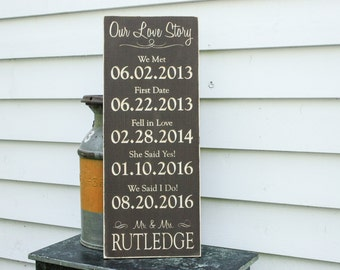 Our Love Story Wedding Date Sign Important Dates Engaged Carved Wooden Sign 5 Dates - 12x30 Personalized Rustic Wooden Carved Engraved Sign