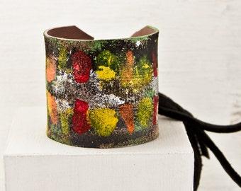 Natural Jewelry - Women's Leather Cuff Wristband - Eco Friendly Bracelet - Woodland Earthy Gaia Jewelry - Leather Bracelet Cuff