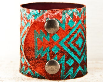 Native Bracelet Leather Cuff Tribal - Indian Indigenous Turquoise Geometric Jewelry Wrist Cuffs - Summer Trends