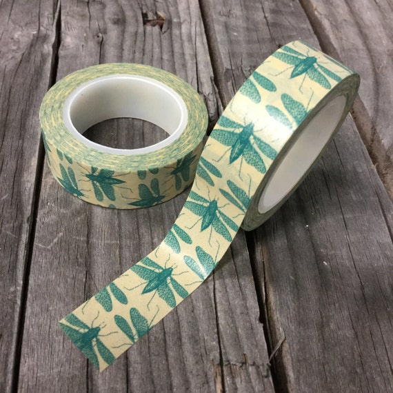Washi Tape - 15mm - Green Dragonfly on cream - Deco Paper Tape No. 306